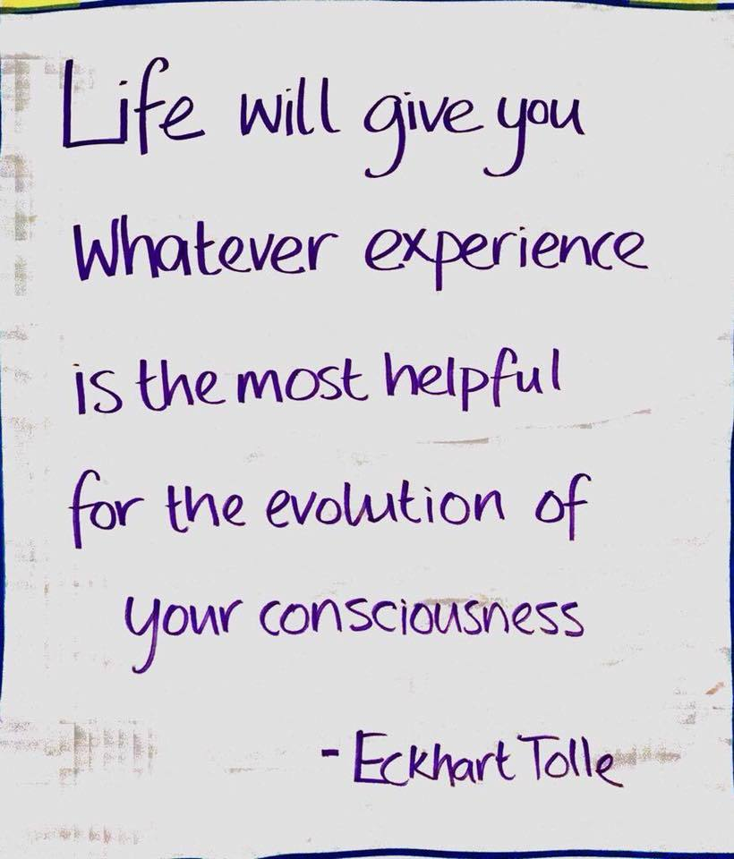 Eckhart Tolle Quote Life will give you whatever experience is the most helpful for the evolution of your consciousness